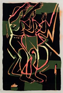 Image of the shapes of people dancing in sync, their figures painted using bright yellow, pink and orange paint, set against a black and green background.