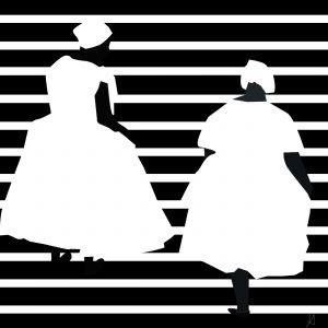 Digital art of two adults wearing white dresses against a striped black and white background