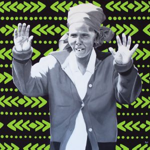 A portrait of an older person painted in different shades of grey. They are wearing a hair wrap and have their hands raised in front of them. The background is black with bright green chevron patterns.