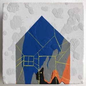 A small figure of a house filled with blue, grey, orange, and black paint. The outline of a door and window is thinly drawn using yellow paint. The background is white with grey shapes resembling clouds.