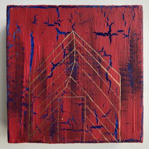 A small figure of a house covered in red paint with a shimmering blue color peeking through using a cracked paint effect. The house is drawn with gold thin lines.