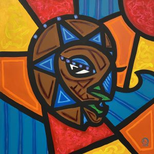 Side view of a geometric depiction of a face made up of mostly triangles painted in blue and brown paint. The background is comprised of geometric shapes in red, orange, yellow, and blue paint.