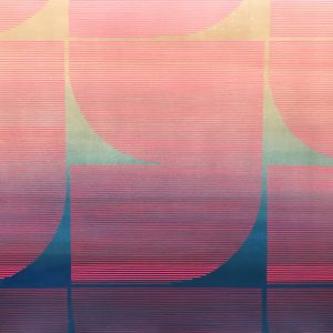 An abstract shape with round and straight edges in red and pink lines against a blue and green background.
