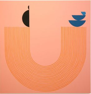 "Orange concentric lines in the shape of a ""U"" with a peachy-pink background."