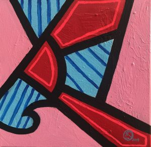 Painting of red and blue geometric shapes outlined with thick black paint on a pink background.