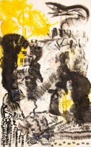 Abstract art utilizing mainly yellow and black hues throughout the entire canvas.