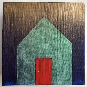 A small figure of a house. The house is painted with teal paint and it has a bright red door. The background is a dark blue, nearly black, paint. The brush strokes of the entire painting are all vertical.