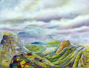 Painting of a landscape of hills and mountains and a cloudy sky.