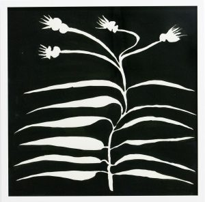 A white plant with long, thin leaves on both sides of its stem which runs along the middle of the painting. The stem splits into four spikey flowers. The background is black.