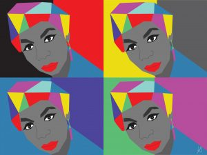Digital art of Nina Simone's portrait in four panels against different-colored background.